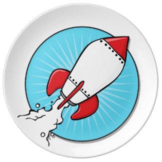 Diseño de RocketShip del dibujo animado Plato De Cerámica