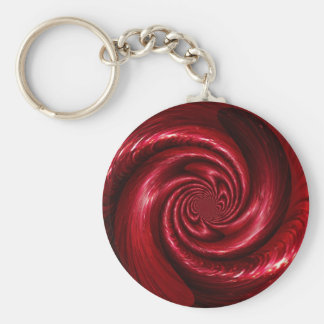Diseño de seda rojo de la malla llavero redondo tipo pin