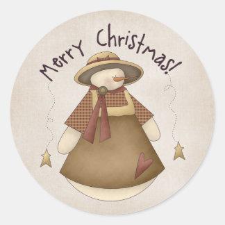Diseño de Snowgirl 2 de las Felices Navidad Pegatina Redonda