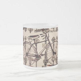 Diseño de Steampunk de la bicicleta del vintage Taza Cristal Mate