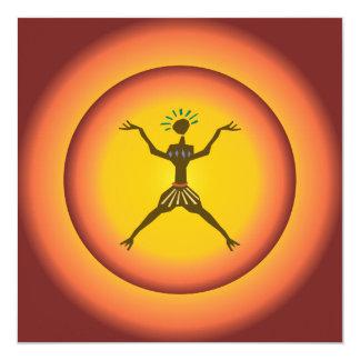 """Diseño de Sun del hombre que brilla intensamente Invitación 5.25"""" X 5.25"""""""