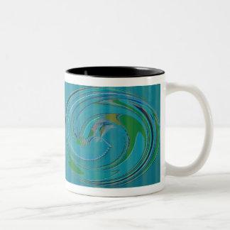 Diseño de Swirly del verde azul Taza De Café
