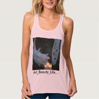 Diseño de T-Shirt_Pink_ABL de las mujeres de la Playera De Tirantes Cruzados Holgada