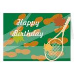 Diseño de tarjeta de cumpleaños del tenis