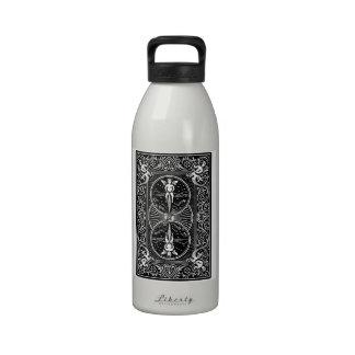 Diseño de tarjeta de la parte posterior del jinete botella de agua