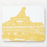 Diseño de torre Eiffel de oro Tapetes De Ratón