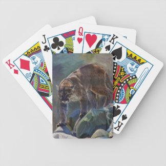 Diseño de vagabundeo del arte del león de montaña  baraja de cartas