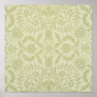 Diseño de William Morris del remolino de la flor d Poster