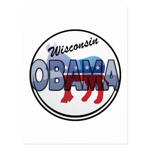 Diseño de Wisconsin Obama Demócrata Tarjetas Postales
