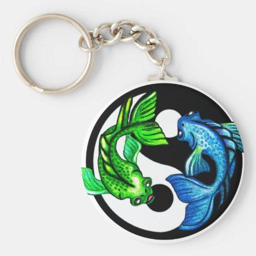 Diseño de Yin-Yang Koi Llavero Redondo Tipo Pin