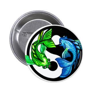 Diseño de Yin-Yang Koi Pin Redondo De 2 Pulgadas