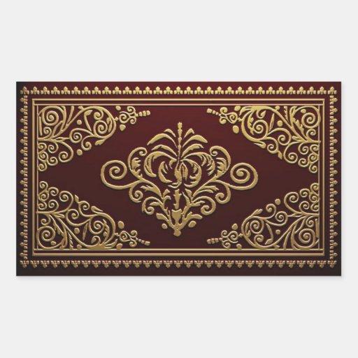 Diseño decorativo antiguo de la encuadernación pegatina rectangular