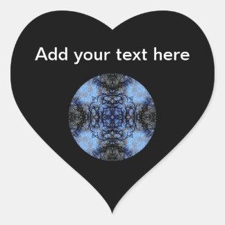 Diseño decorativo complejo Negro y azul Pegatina Corazón Personalizadas