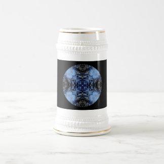 Diseño decorativo complejo Negro y azul Taza