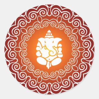 Diseño decorativo de Ganesha Pegatina Redonda