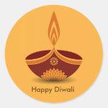 Diseño decorativo de la lámpara de Diwali Pegatina Redonda
