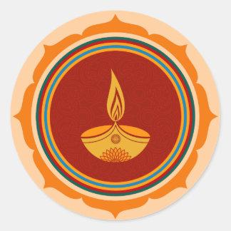 Diseño decorativo de Lotus Diwali Pegatina Redonda
