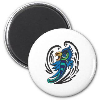 Diseño decorativo del tatuaje del pájaro imán redondo 5 cm