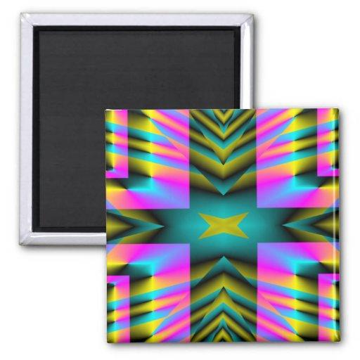 Diseño deformado tela escocesa del arco iris imán cuadrado