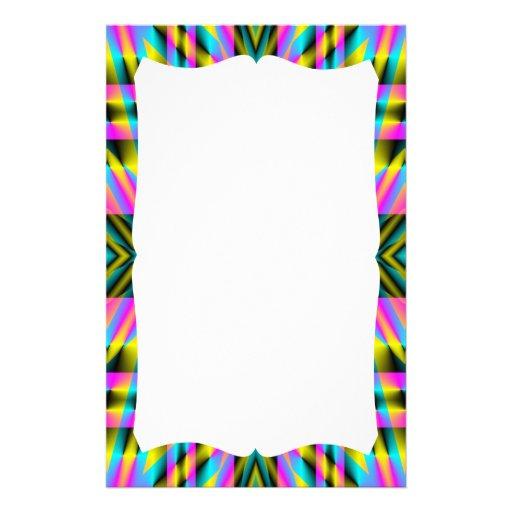 Diseño deformado tela escocesa del arco iris personalized stationery