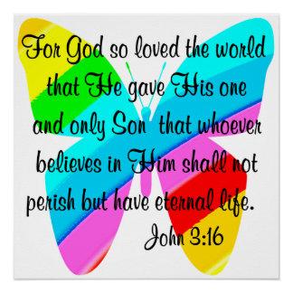 DISEÑO DEL 3:16 DE JUAN DE LA MARIPOSA DEL ARCO PERFECT POSTER