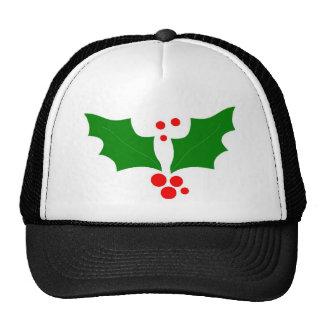 Diseño del acebo del navidad gorros bordados
