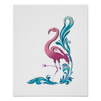 diseño del adorno del flamenco posters