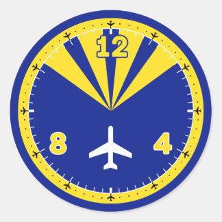 Diseño del aeroplano pegatina redonda