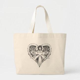 Diseño del ala del corazón del ángel de guarda bolsa tela grande