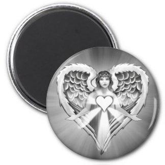 Diseño del ala del corazón del ángel de guarda imán redondo 5 cm