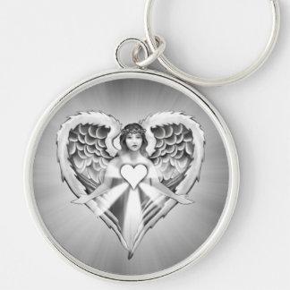 Diseño del ala del corazón del ángel de guarda) llavero redondo plateado