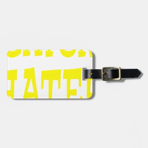 Diseño del amarillo del enemigo del cocodrilo etiquetas para maletas