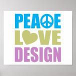 Diseño del amor de la paz impresiones