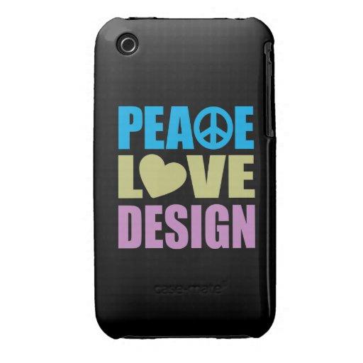 Diseño del amor de la paz iPhone 3 protector