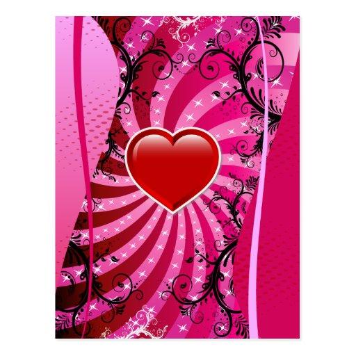 Diseño del amor del corazón postal