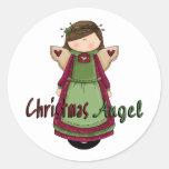 Diseño del ángel D1 del navidad Etiquetas Redondas