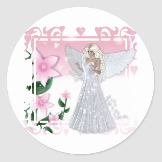 Diseño del ángel de la flor pegatina redonda