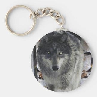 Diseño del Animal-amante del lobo gris de la fauna Llavero Redondo Tipo Pin