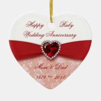 Diseño del aniversario de boda del damasco 40.o adorno navideño de cerámica en forma de corazón