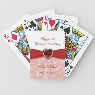 Diseño del aniversario de boda del damasco 40.o barajas de cartas