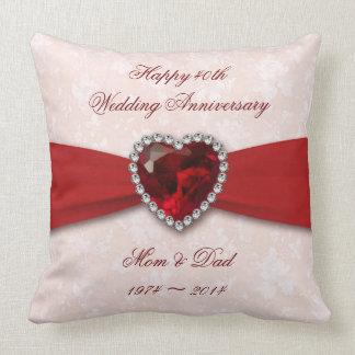 Diseño del aniversario de boda del damasco 40.o cojín decorativo