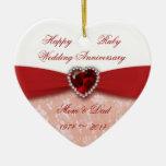 Diseño del aniversario de boda del damasco 40.o ornamente de reyes