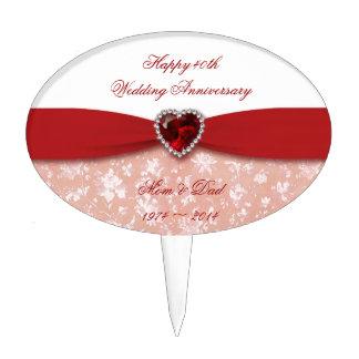Diseño del aniversario de boda del damasco 40.o figuras para tartas