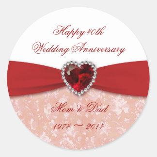 Diseño del aniversario de boda del damasco 40.o pegatina redonda