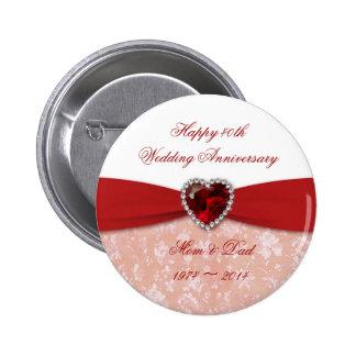 Diseño del aniversario de boda del damasco 40.o pin redondo de 2 pulgadas