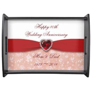 Diseño del aniversario de boda del damasco 40 o bandeja