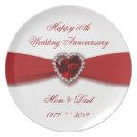 Diseño del aniversario de boda del damasco 40.o platos para fiestas