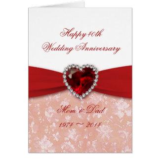Diseño del aniversario de boda del damasco 40 o felicitaciones