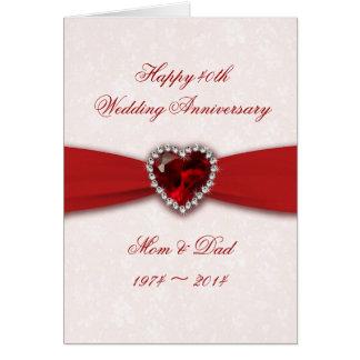 Diseño del aniversario de boda del damasco 40.o tarjeta de felicitación
