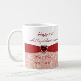 Diseño del aniversario de boda del damasco 40.o tazas